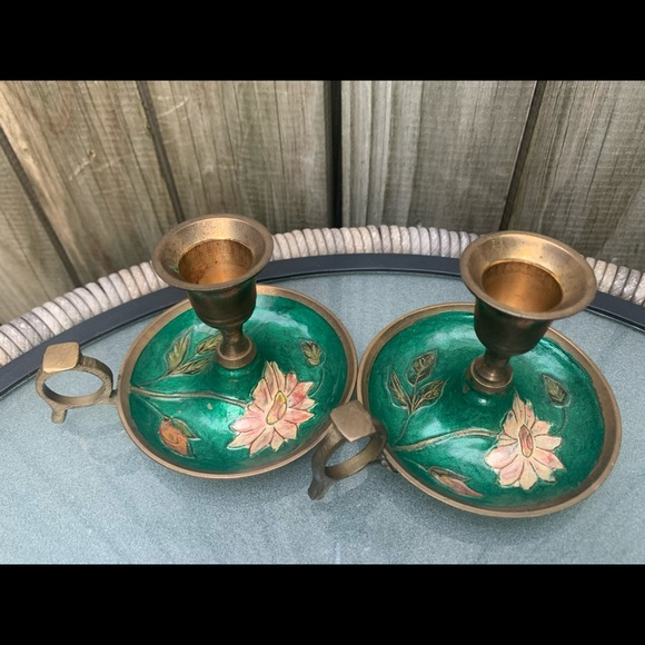 Floral painted vintage brass candlestick holders